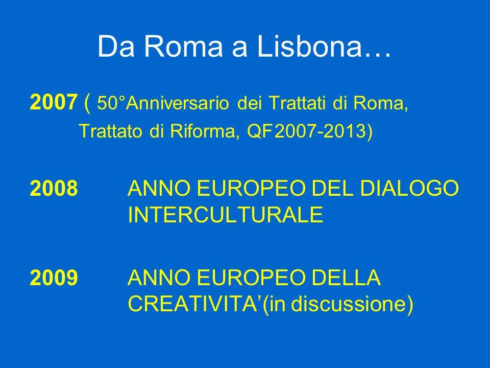 Da Roma a Lisbona… 2007 ( 50°Anniversario dei Trattati di Roma, Trattato di Riforma, QF2007-2013) 2008 ANNO EUROPEO DEL DIALOGO INTERCULTURALE 2009 AN