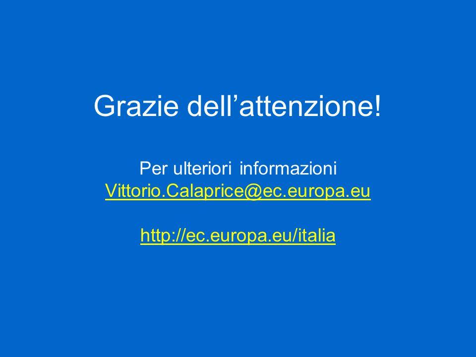 Grazie dellattenzione! Per ulteriori informazioni Vittorio.Calaprice@ec.europa.eu http://ec.europa.eu/italia