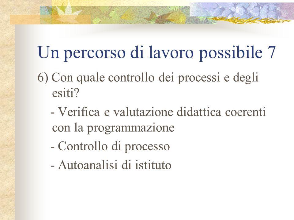 Un percorso di lavoro possibile 7 6) Con quale controllo dei processi e degli esiti? - Verifica e valutazione didattica coerenti con la programmazione