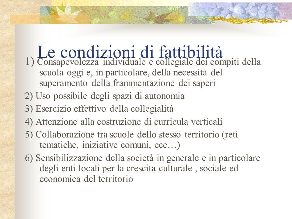 Le condizioni di fattibilità 1) Consapevolezza individuale e collegiale dei compiti della scuola oggi e, in particolare, della necessità del superamen