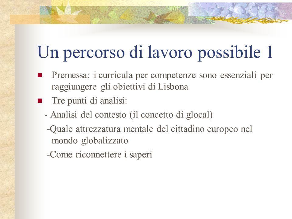 Un percorso di lavoro possibile 1 Premessa: i curricula per competenze sono essenziali per raggiungere gli obiettivi di Lisbona Tre punti di analisi: