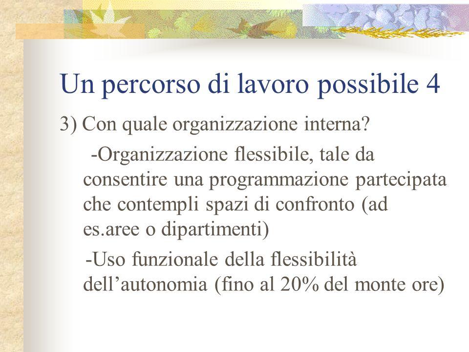 Un percorso di lavoro possibile 4 3) Con quale organizzazione interna? -Organizzazione flessibile, tale da consentire una programmazione partecipata c