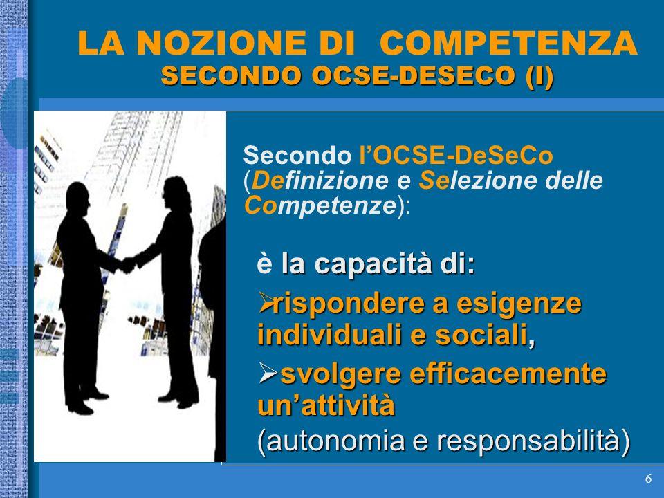 6 SECONDO OCSE-DESECO (I) LA NOZIONE DI COMPETENZA SECONDO OCSE-DESECO (I) Secondo lOCSE-DeSeCo (Definizione e Selezione delle Competenze): la capacità di: è la capacità di: rispondere a esigenze individuali e sociali, rispondere a esigenze individuali e sociali, svolgere efficacemente unattività svolgere efficacemente unattività (autonomia e responsabilità)