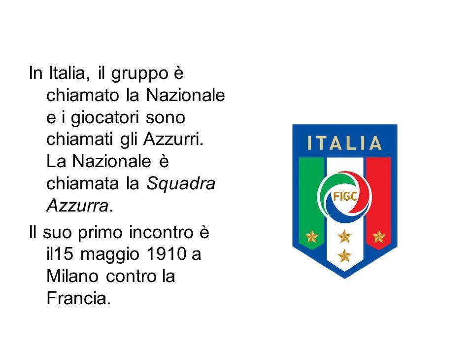 In Italia, il gruppo è chiamato la Nazionale e i giocatori sono chiamati gli Azzurri.