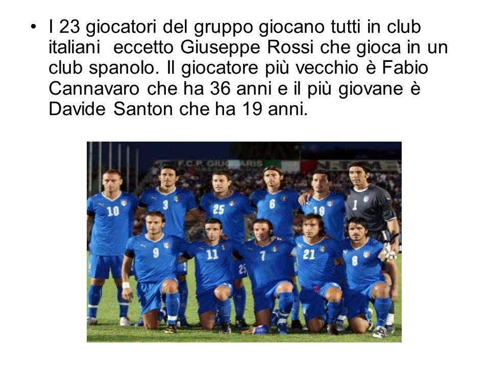 I 23 giocatori del gruppo giocano tutti in club italiani eccetto Giuseppe Rossi che gioca in un club spanolo.