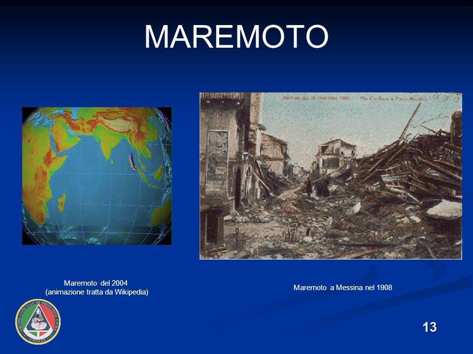 13 MAREMOTO Maremoto del 2004 (animazione tratta da Wikipedia) Maremoto a Messina nel 1908