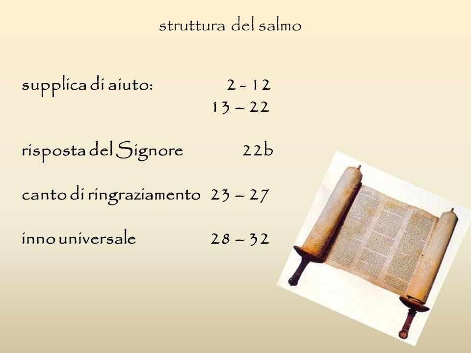 struttura del salmo supplica di aiuto: 2 - 12 13 – 22 risposta del Signore 22b canto di ringraziamento23 – 27 inno universale 28 – 32