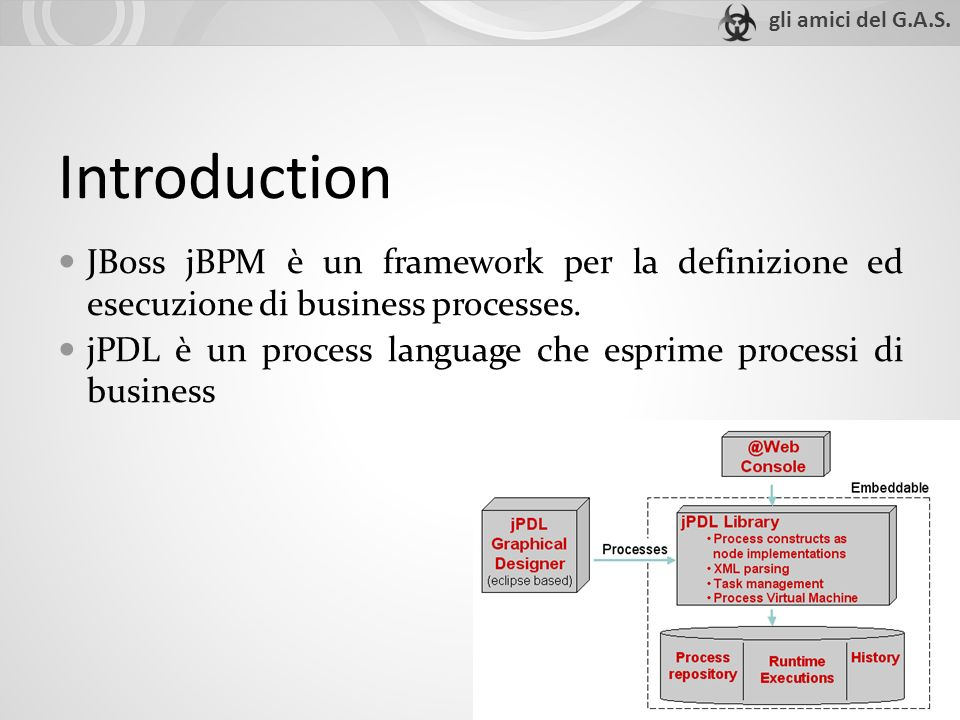 Introduction JBoss jBPM è un framework per la definizione ed esecuzione di business processes.