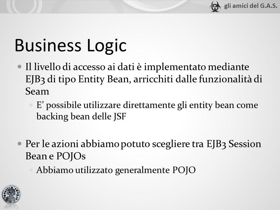 Business Logic Il livello di accesso ai dati è implementato mediante EJB3 di tipo Entity Bean, arricchiti dalle funzionalità di Seam E possibile utilizzare direttamente gli entity bean come backing bean delle JSF Per le azioni abbiamo potuto scegliere tra EJB3 Session Bean e POJOs Abbiamo utilizzato generalmente POJO