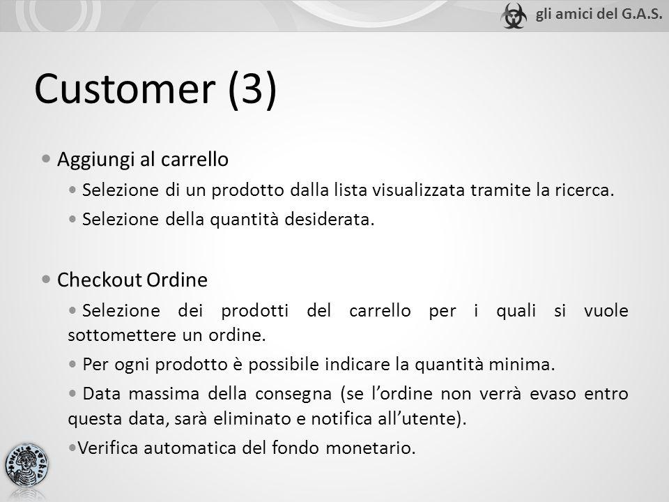 Customer (3) Aggiungi al carrello Selezione di un prodotto dalla lista visualizzata tramite la ricerca.