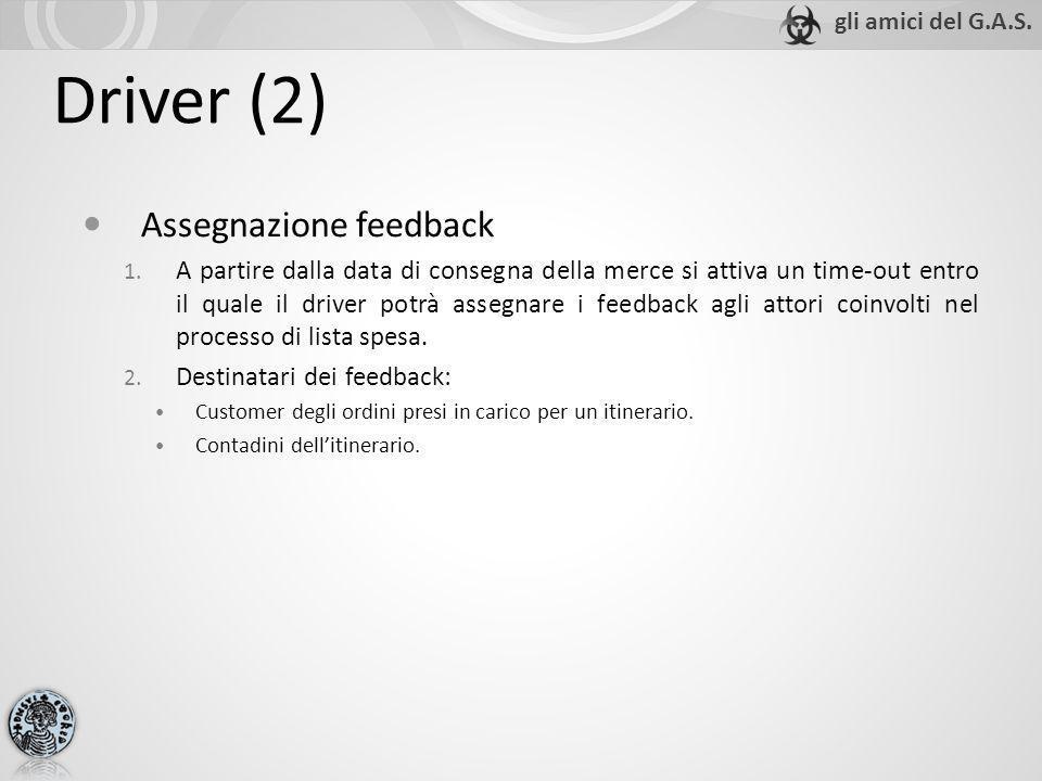 Driver (2) Assegnazione feedback 1. A partire dalla data di consegna della merce si attiva un time-out entro il quale il driver potrà assegnare i feed
