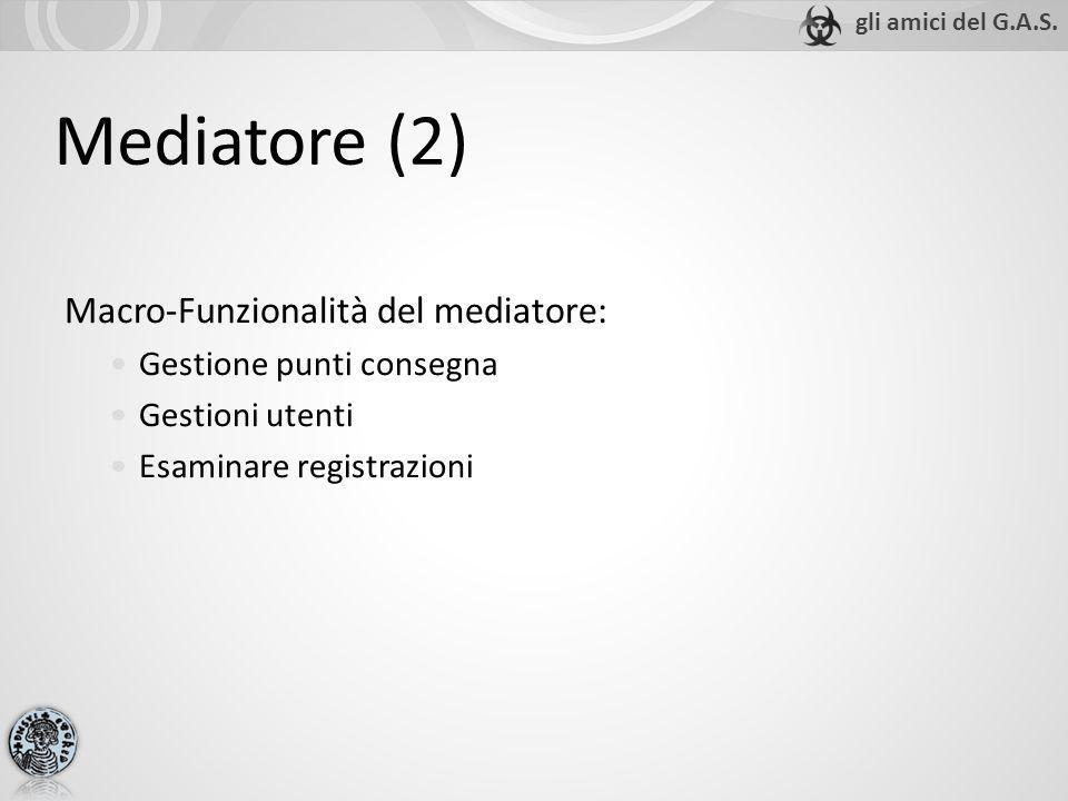 Mediatore (2) Macro-Funzionalità del mediatore: Gestione punti consegna Gestioni utenti Esaminare registrazioni