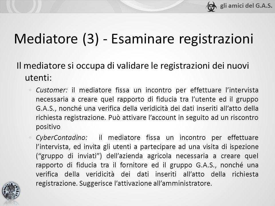 Mediatore (3) - Esaminare registrazioni Il mediatore si occupa di validare le registrazioni dei nuovi utenti: Customer: il mediatore fissa un incontro