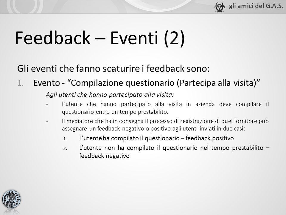 Feedback – Eventi (2) Gli eventi che fanno scaturire i feedback sono: 1. Evento - Compilazione questionario (Partecipa alla visita) Agli utenti che ha
