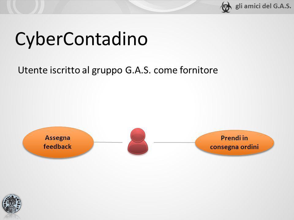 CyberContadino Utente iscritto al gruppo G.A.S. come fornitore Assegna feedback Prendi in consegna ordini