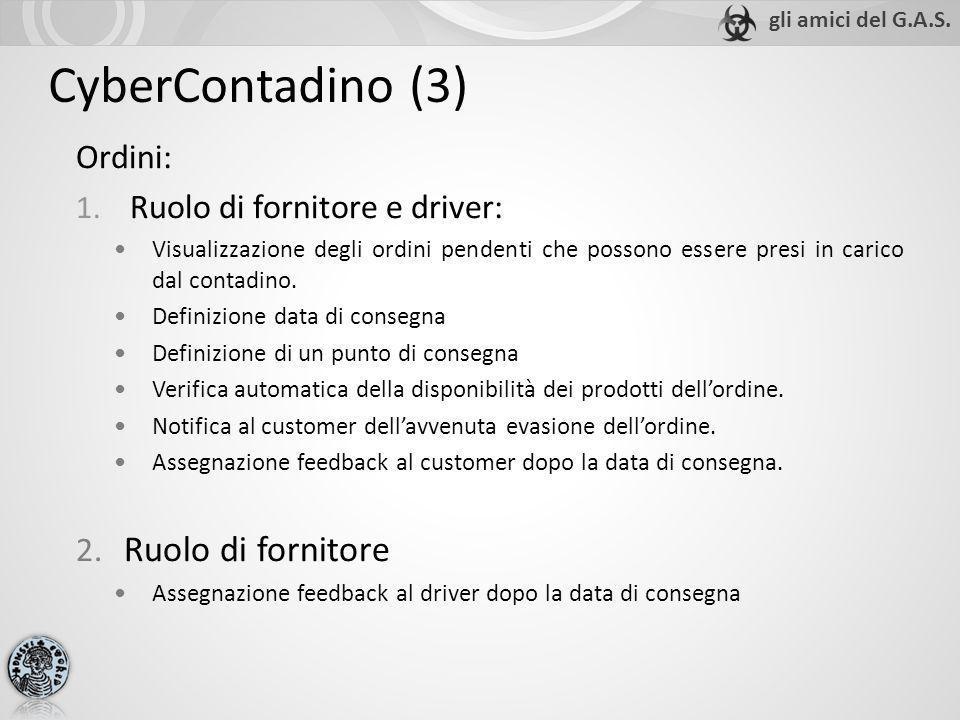 CyberContadino (3) Ordini: 1. Ruolo di fornitore e driver: Visualizzazione degli ordini pendenti che possono essere presi in carico dal contadino. Def