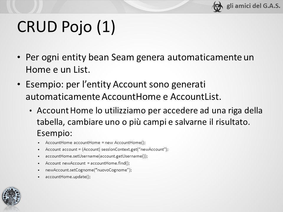 Per ogni entity bean Seam genera automaticamente un Home e un List. Esempio: per lentity Account sono generati automaticamente AccountHome e AccountLi