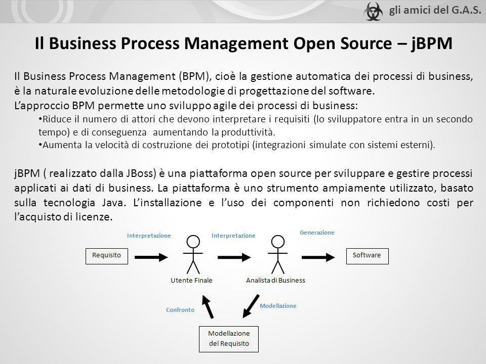 Il Business Process Management Open Source – jBPM Il Business Process Management (BPM), cioè la gestione automatica dei processi di business, è la nat