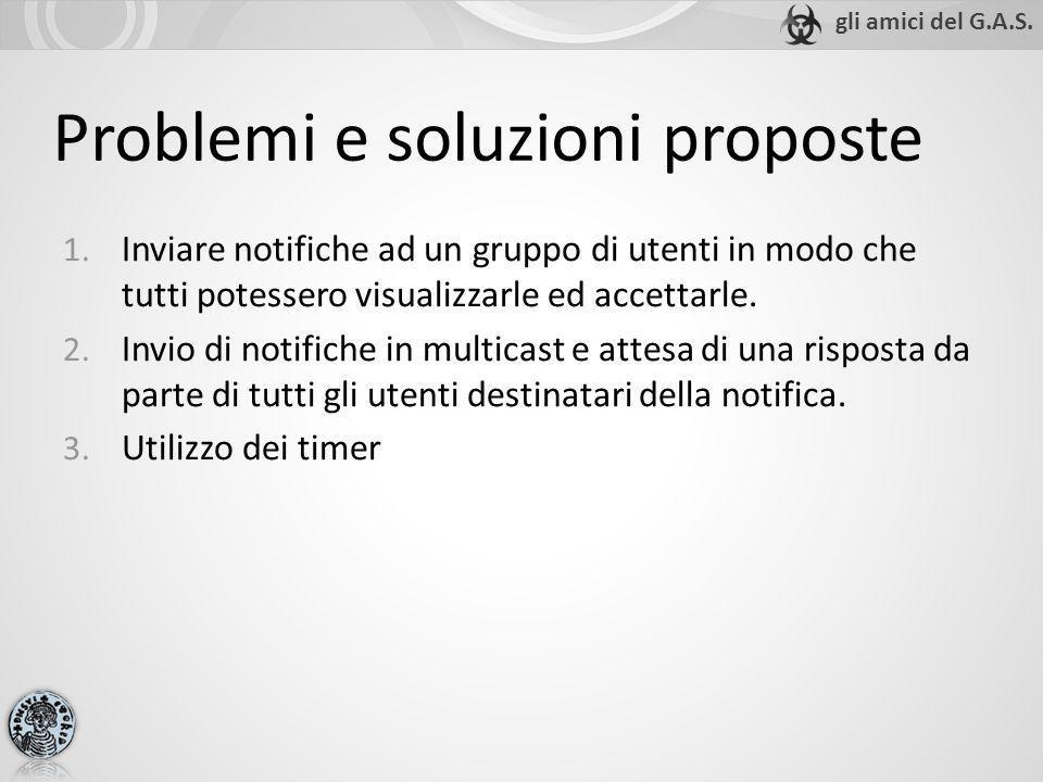 Problemi e soluzioni proposte 1. Inviare notifiche ad un gruppo di utenti in modo che tutti potessero visualizzarle ed accettarle. 2. Invio di notific