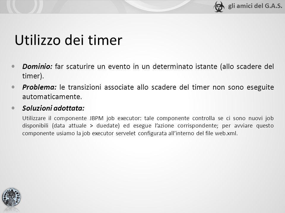 Utilizzo dei timer Dominio: far scaturire un evento in un determinato istante (allo scadere del timer). Problema: le transizioni associate allo scader