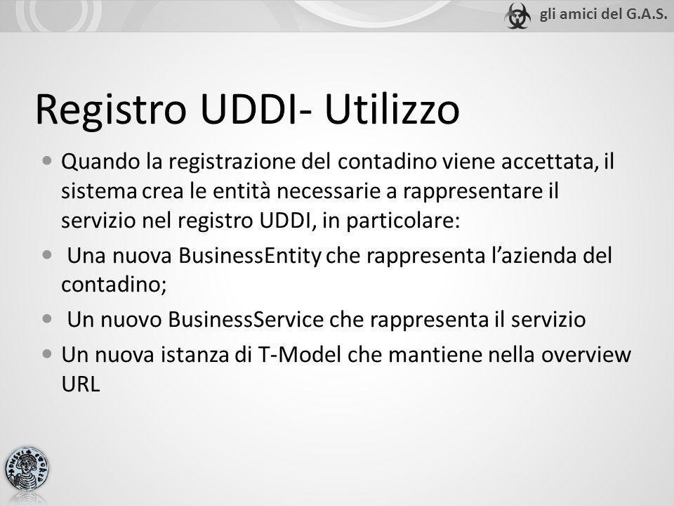 Registro UDDI- Utilizzo Quando la registrazione del contadino viene accettata, il sistema crea le entità necessarie a rappresentare il servizio nel re