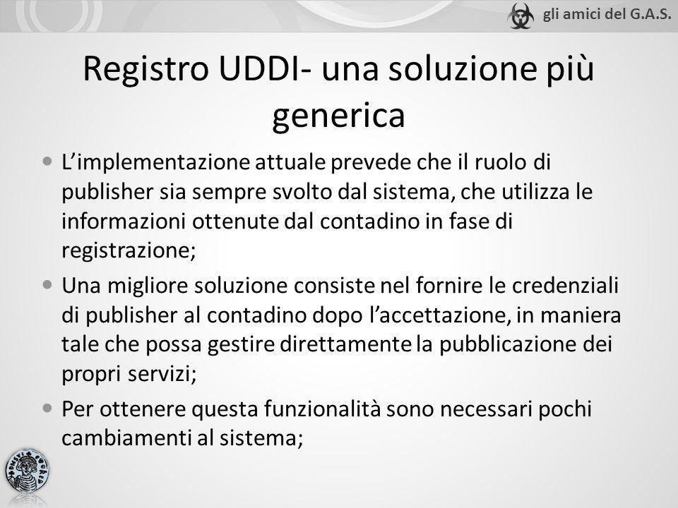 Registro UDDI- una soluzione più generica Limplementazione attuale prevede che il ruolo di publisher sia sempre svolto dal sistema, che utilizza le in