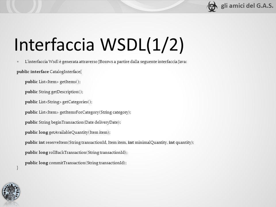 Interfaccia WSDL(1/2) Linterfaccia Wsdl è generata attraverso JBossws a partire dalla seguente interfaccia Java: public interface CatalogInterface{ pu