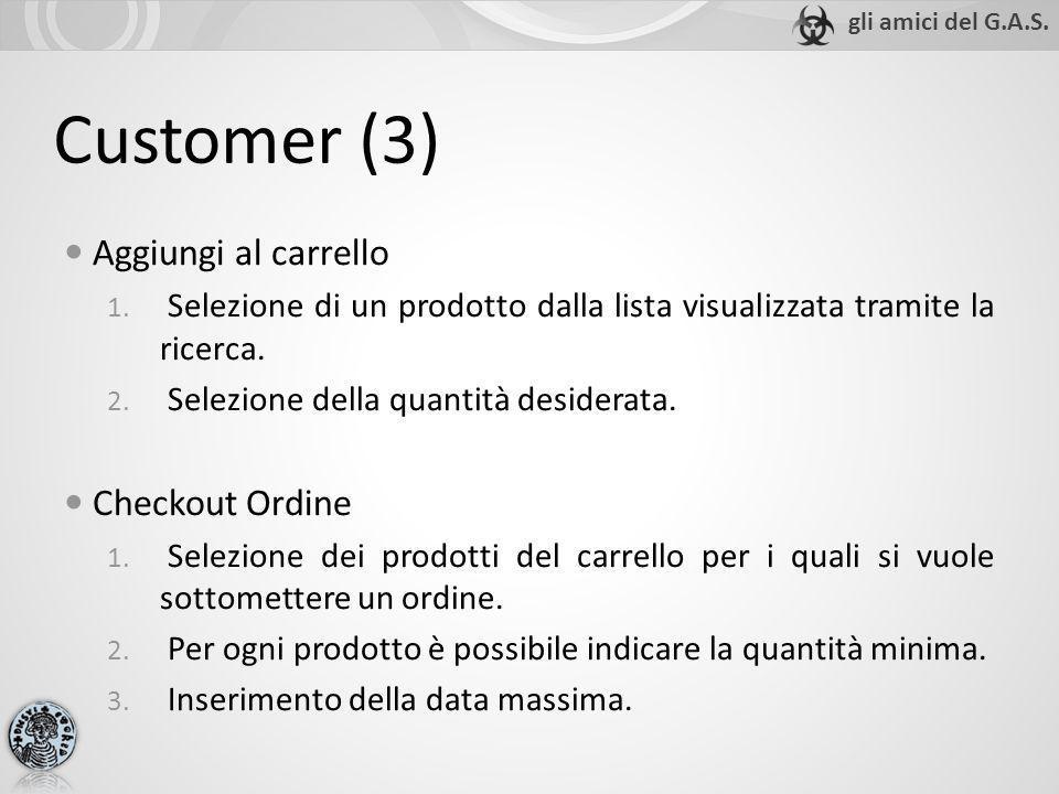 Customer (3) Aggiungi al carrello 1. Selezione di un prodotto dalla lista visualizzata tramite la ricerca. 2. Selezione della quantità desiderata. Che