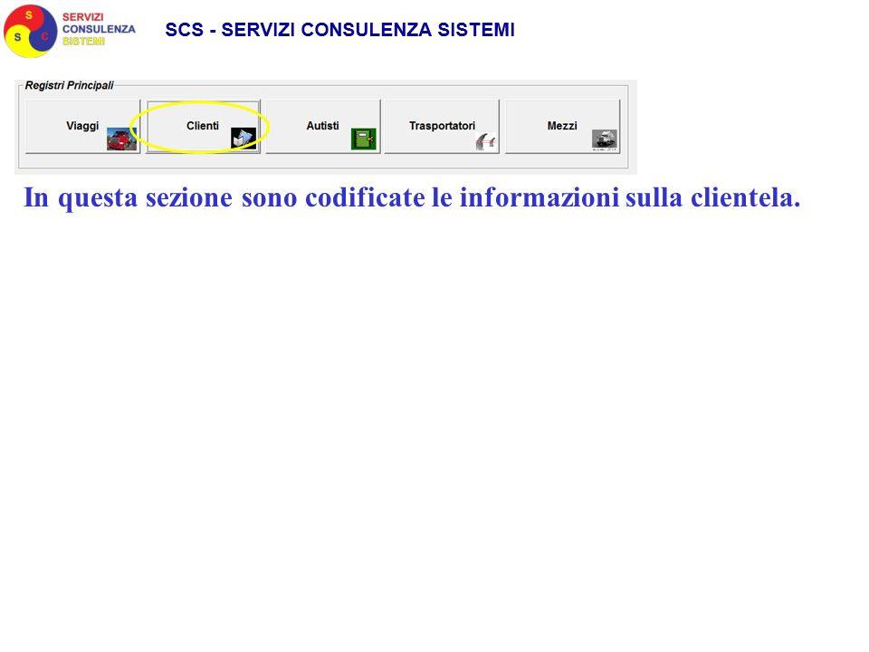 In questa sezione sono codificate le informazioni sulla clientela.