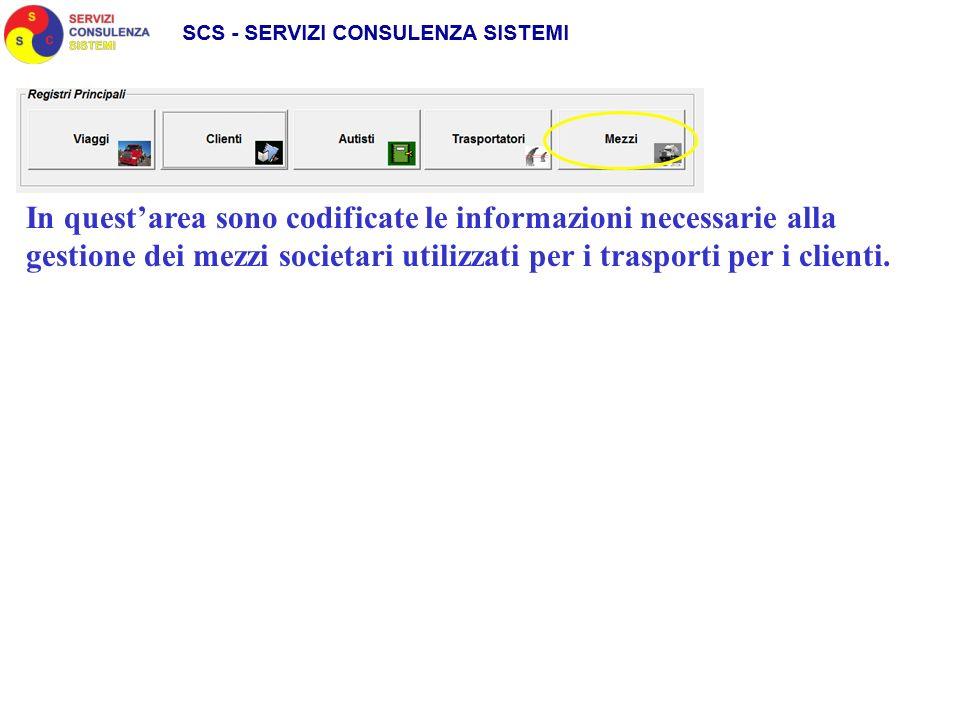 In questarea sono codificate le informazioni necessarie alla gestione dei mezzi societari utilizzati per i trasporti per i clienti.
