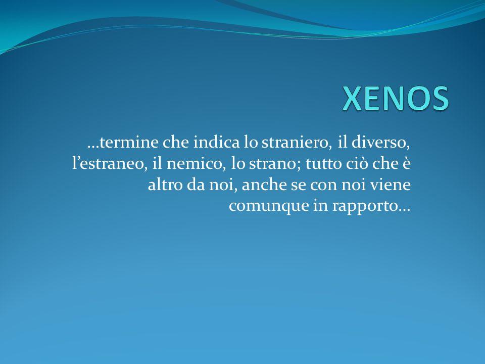 Xenos e filosofia Il termine greco xenos indica chi riceve e chi dà ospitalità.