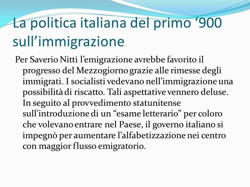La politica italiana del primo 900 sullimmigrazione Per Saverio Nitti lemigrazione avrebbe favorito il progresso del Mezzogiorno grazie alle rimesse d