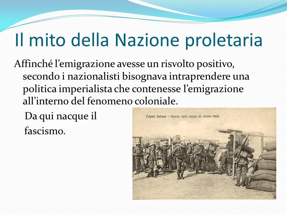 Il mito della Nazione proletaria Affinché lemigrazione avesse un risvolto positivo, secondo i nazionalisti bisognava intraprendere una politica imperi
