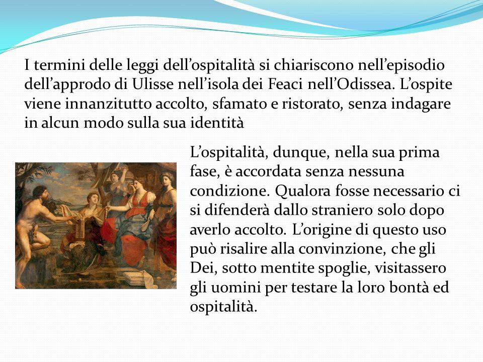 I termini delle leggi dellospitalità si chiariscono nellepisodio dellapprodo di Ulisse nellisola dei Feaci nellOdissea. Lospite viene innanzitutto acc