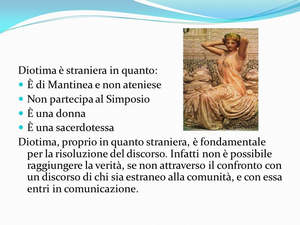 Diotima è straniera in quanto: È di Mantinea e non ateniese Non partecipa al Simposio È una donna È una sacerdotessa Diotima, proprio in quanto strani