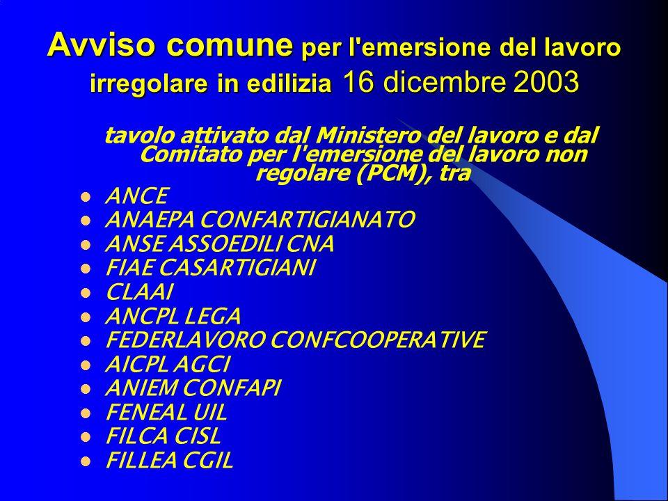 Avviso comune per l emersione del lavoro irregolare in edilizia 16 dicembre 2003 tavolo attivato dal Ministero del lavoro e dal Comitato per l emersione del lavoro non regolare (PCM), tra ANCE ANAEPA CONFARTIGIANATO ANSE ASSOEDILI CNA FIAE CASARTIGIANI CLAAI ANCPL LEGA FEDERLAVORO CONFCOOPERATIVE AICPL AGCI ANIEM CONFAPI FENEAL UIL FILCA CISL FILLEA CGIL