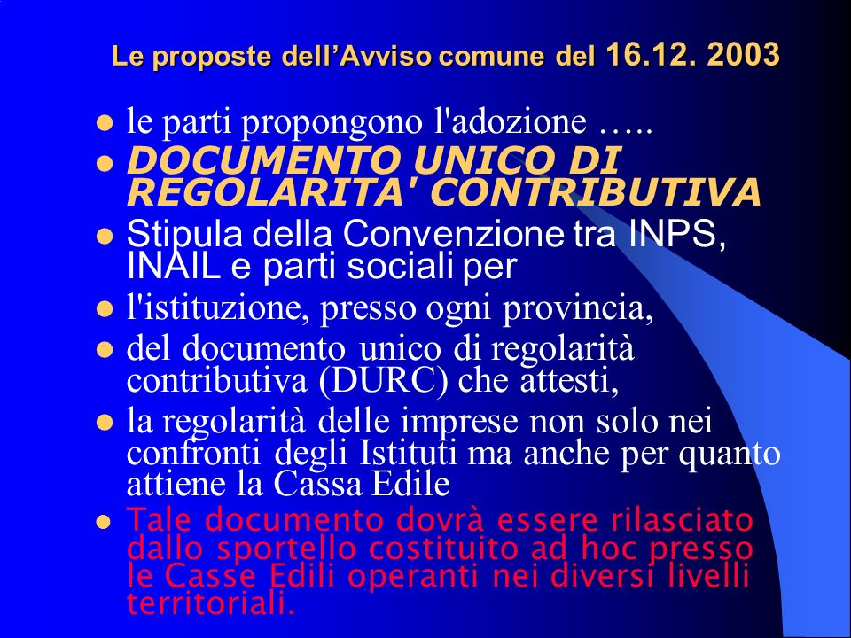 Le proposte dellAvviso comune del 16.12. 2003 le parti propongono l adozione …..