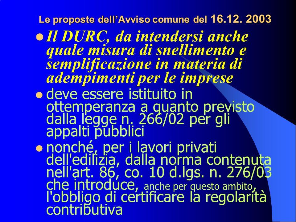 Le proposte dellAvviso comune del 16.12.