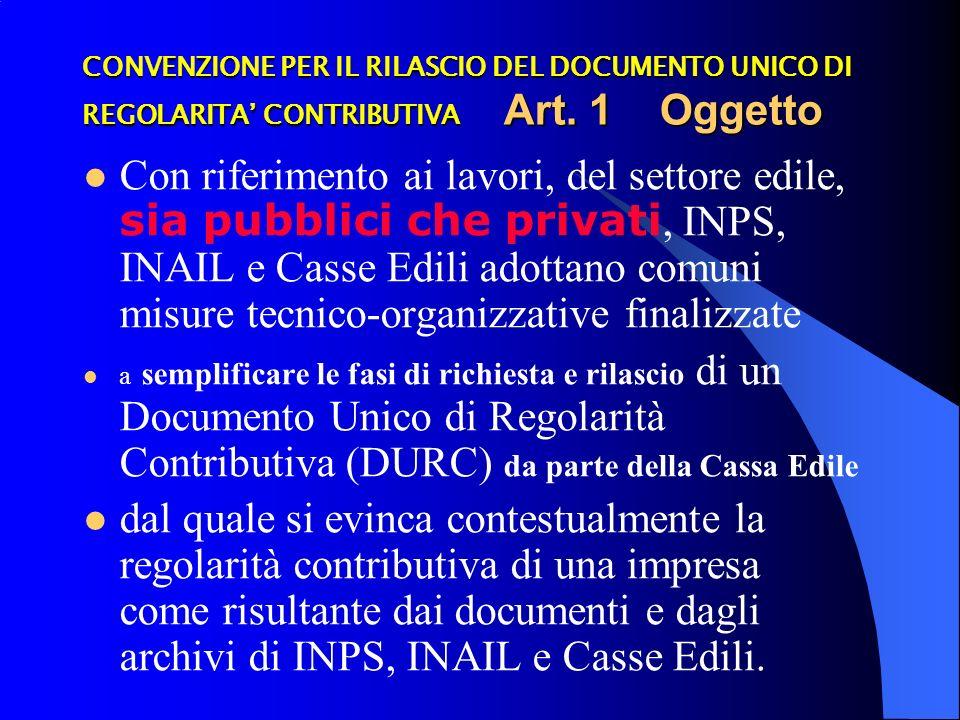 CONVENZIONE PER IL RILASCIO DEL DOCUMENTO UNICO DI REGOLARITA CONTRIBUTIVA Art.