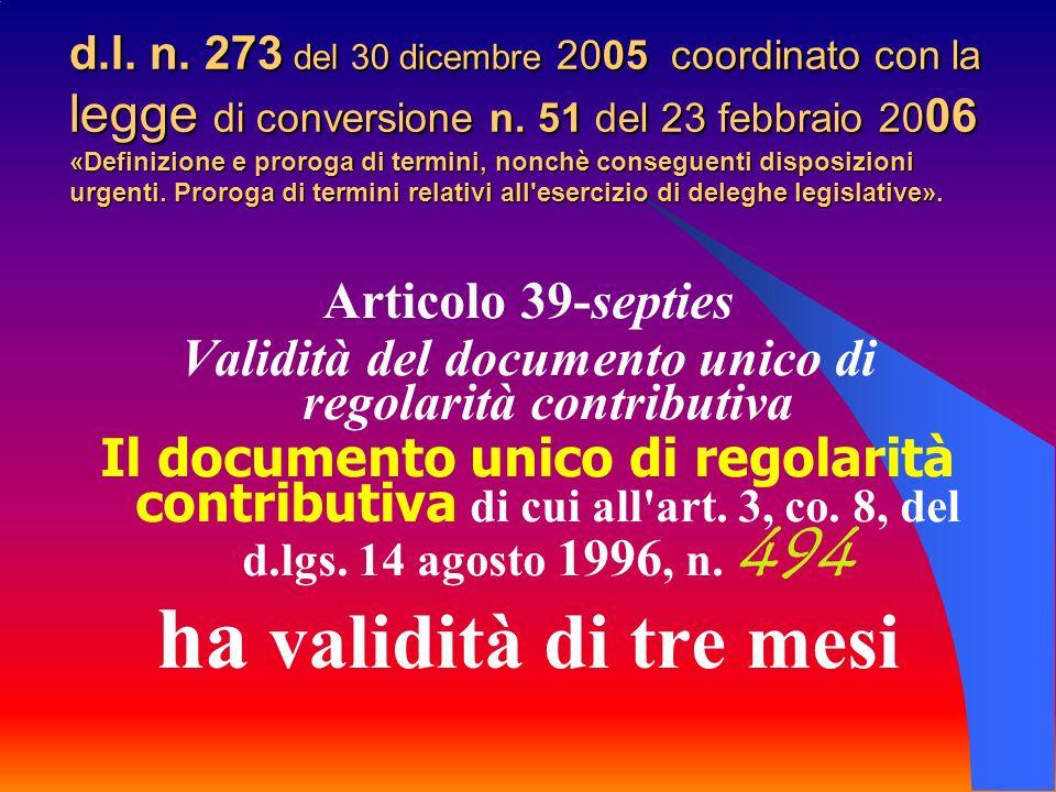 d.l. n. 273 del 30 dicembre 2005 coordinato con la legge di conversione n.