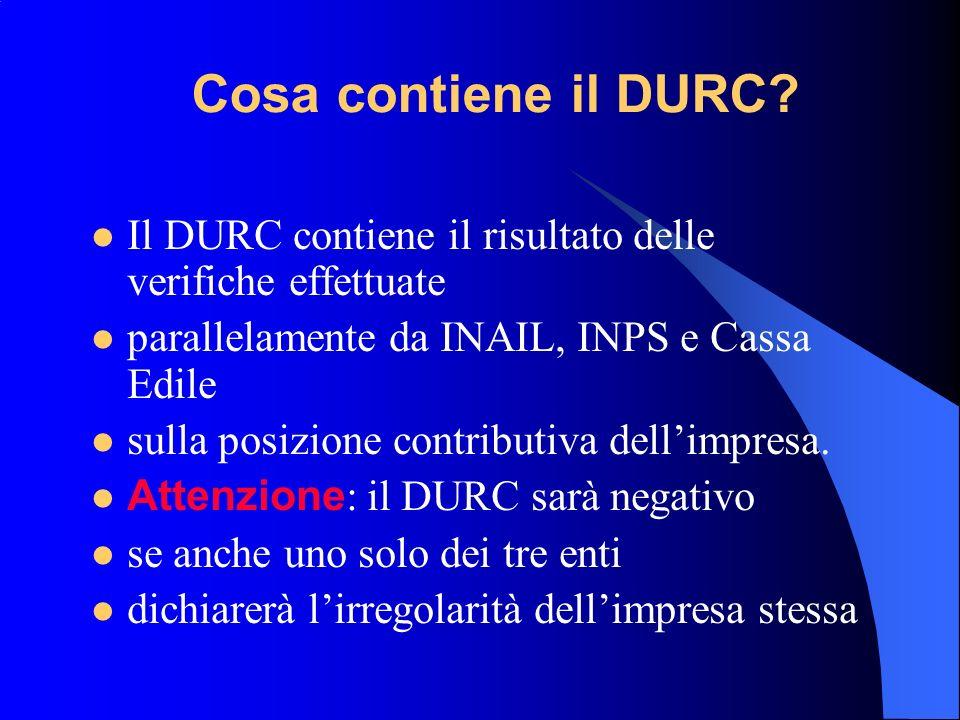 Cosa contiene il DURC.