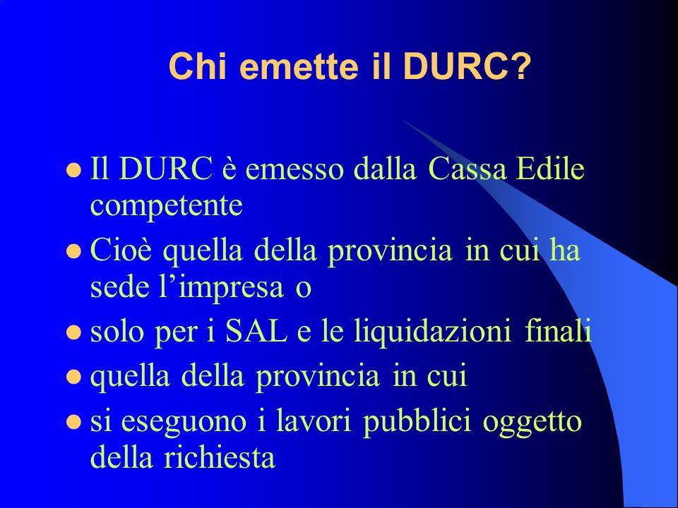 Chi emette il DURC.
