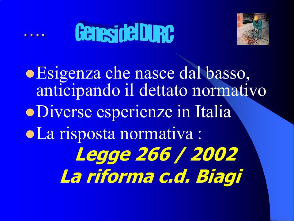 …. Esigenza che nasce dal basso, anticipando il dettato normativo Diverse esperienze in Italia La risposta normativa : Legge 266 / 2002 La riforma c.d