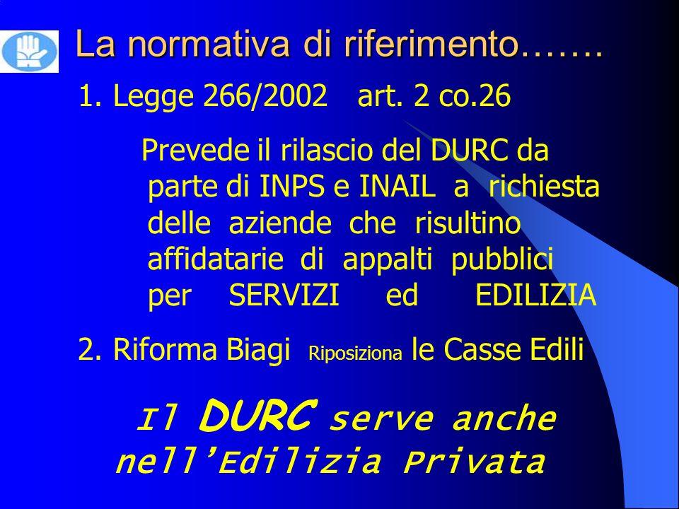 La normativa di riferimento……. 1.Legge 266/2002 art.