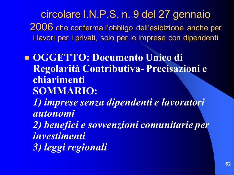 62 circolare I.N.P.S. n.