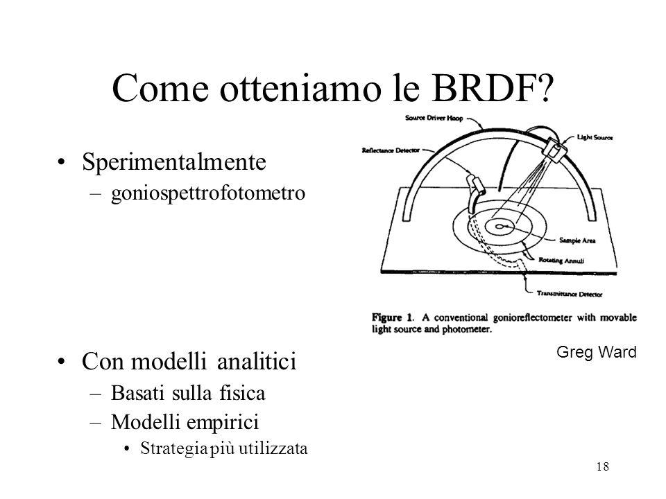 17 Dimensionalità della BRDF Funzione di –Posizione (3) –Direzioni di incidenza e riflessione (4) –Lunghezza donda (1) Semplificazioni: A volte non si