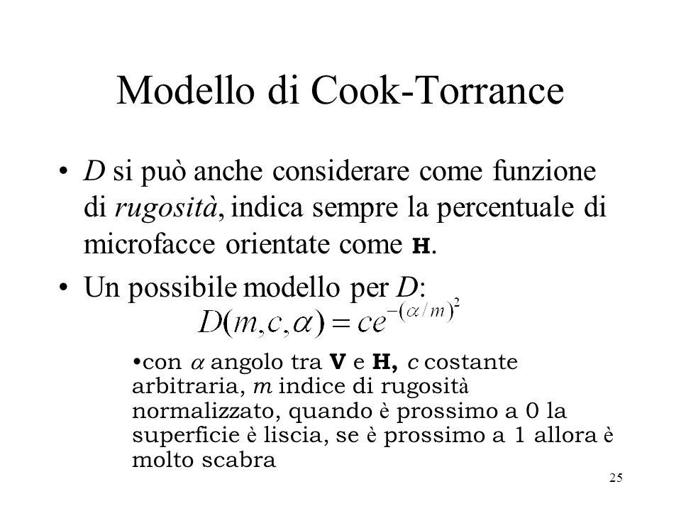 24 Modello di Cook-Torrance F () [0,1] è la funzione di Fresnel, definisce il colore della componente speculare G [0,1] è il fattore geometrico che de