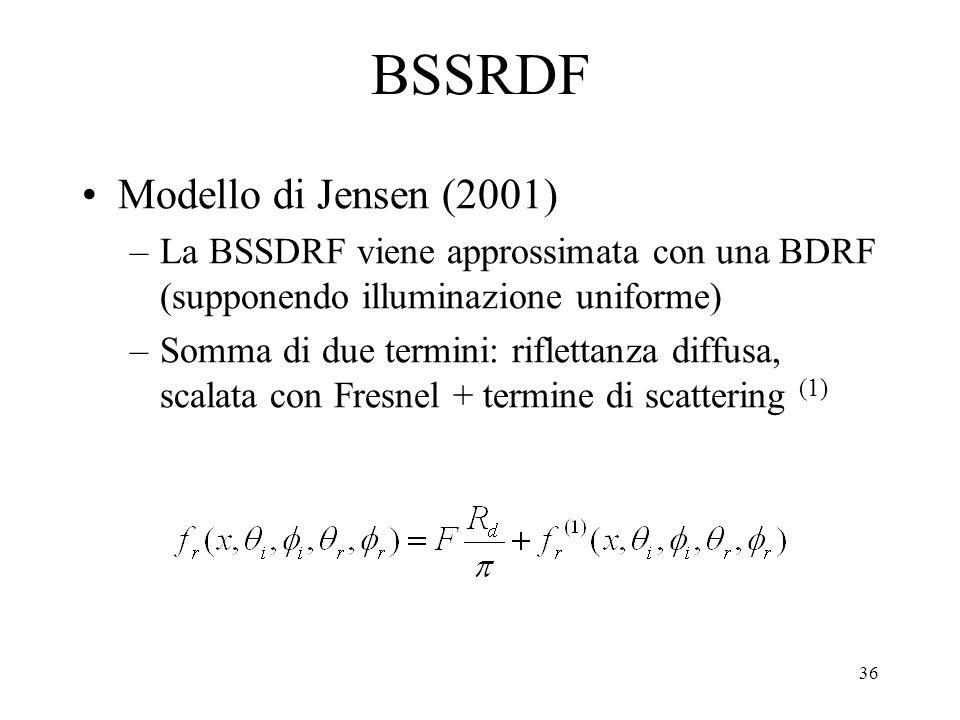 35 Modelli locali che simulano la BSSRDF Hanrahan (1993): materiali a strati con BDRF e BTRF Wolff (1994): modellato in 3 passi: rifrazione entrante,