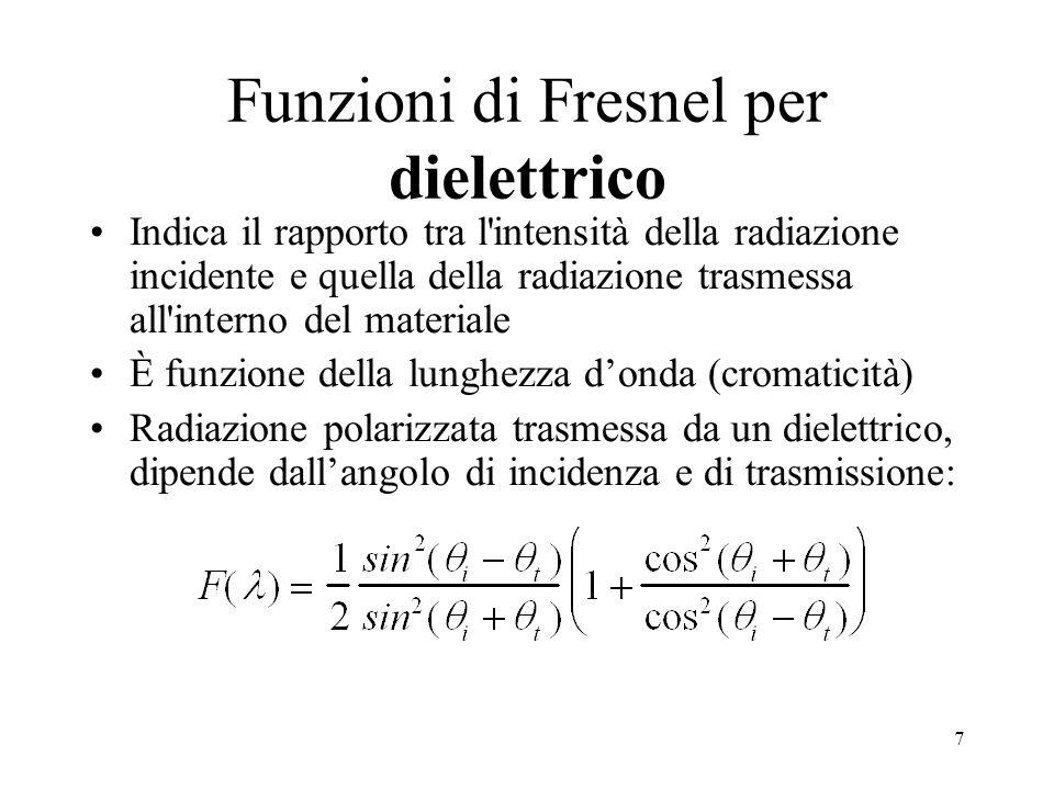 6 Riflettometria La riflettometria descrive la riflessione delle onde e.m. su materiali reali in termini di grandezze radiometriche Le funzioni di Fre