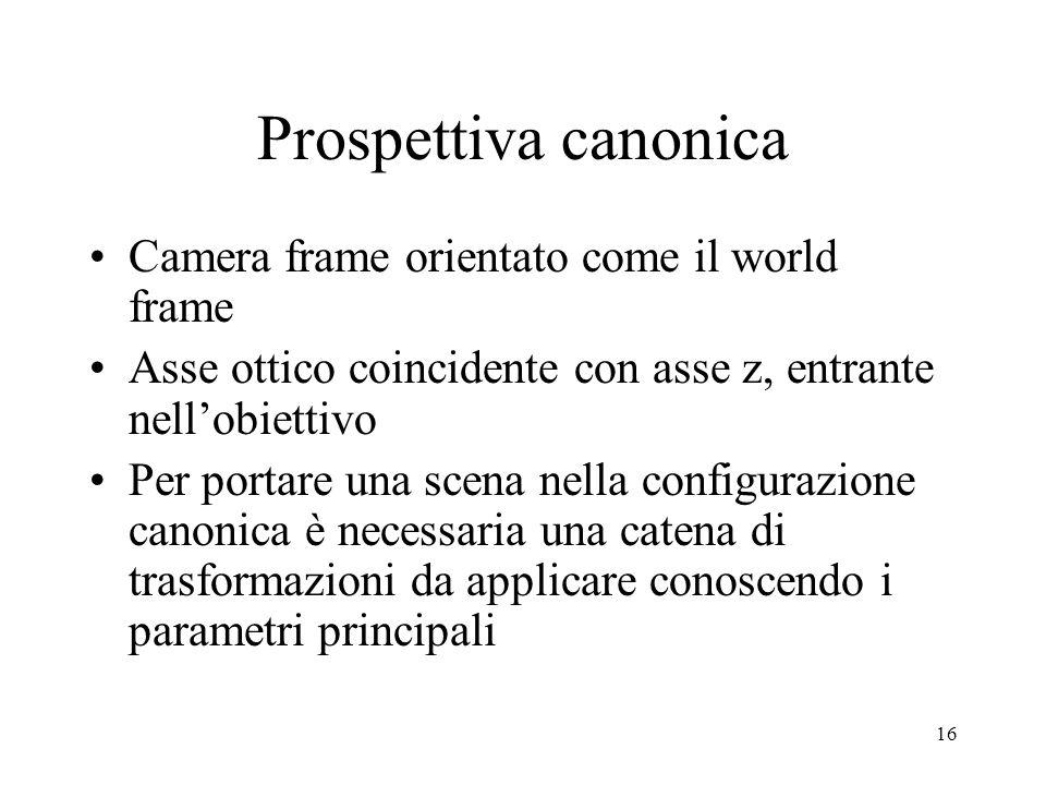 16 Prospettiva canonica Camera frame orientato come il world frame Asse ottico coincidente con asse z, entrante nellobiettivo Per portare una scena ne